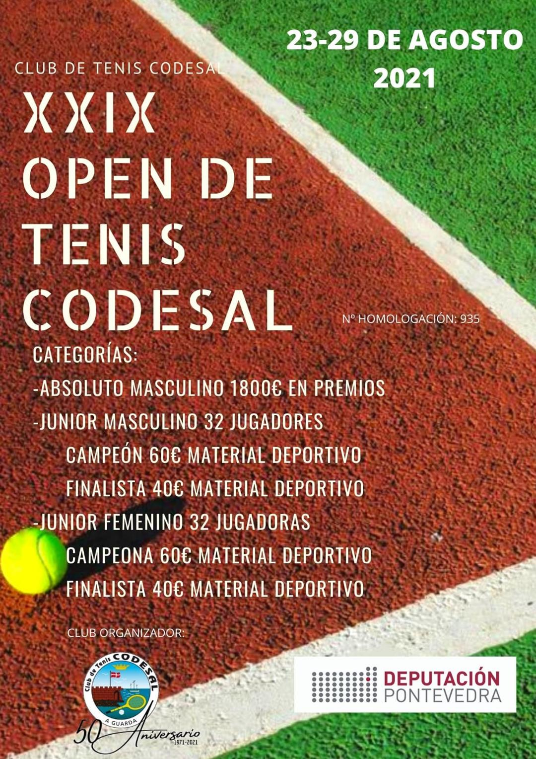 XXIX Open de tenis codesal del 23-29 de agosto 2021