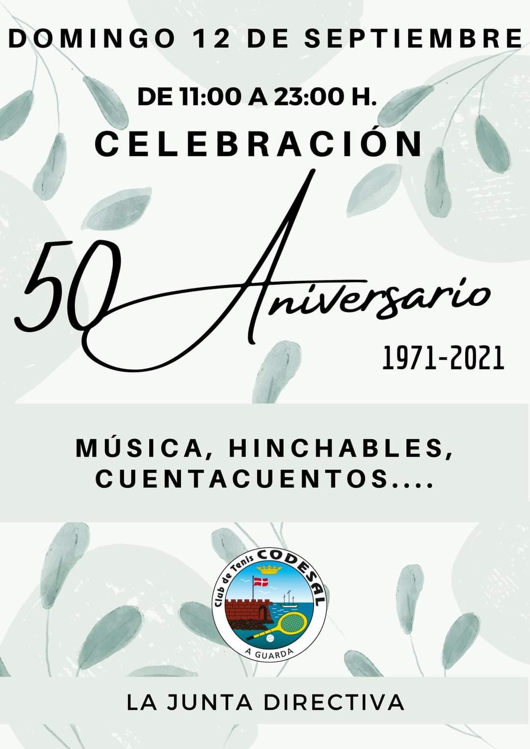 El domingo 12 de septiembre será la Celebración del 50 aniversario del Club de Tenis Codesal